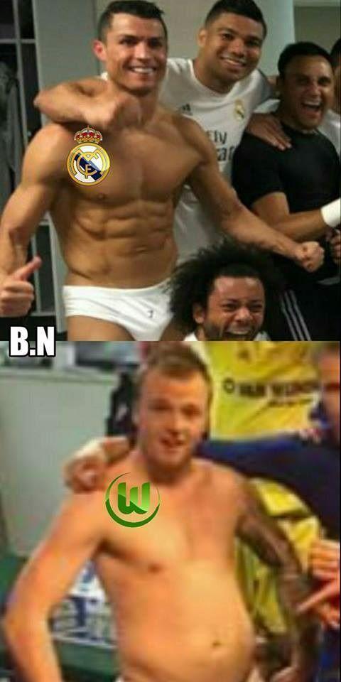 Taka jest różnica między Realem Madryt i VFL Wolfsburg • Real jest jak umięśniony Ronaldo, a Wolfsburg jak gruby koleś • Zobacz mem >> #football #soccer #sports #pilkanozna