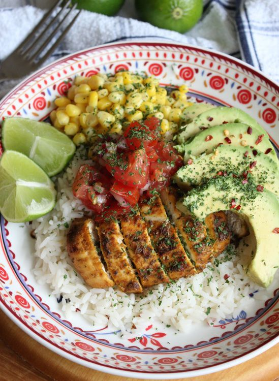 Mexican Rice Bowls with marinated chicken from What Jessica Baked Next. Sounds like a fantastic weeknight meal.