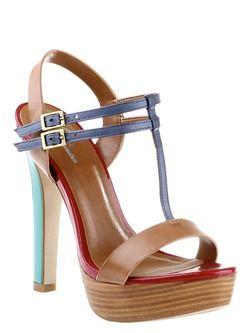 Sandalo elegante con doppia fibbia di chiusura, altezza tacco 12 cm, plateau 2 cm, colore beige,  rosso e azzurro.