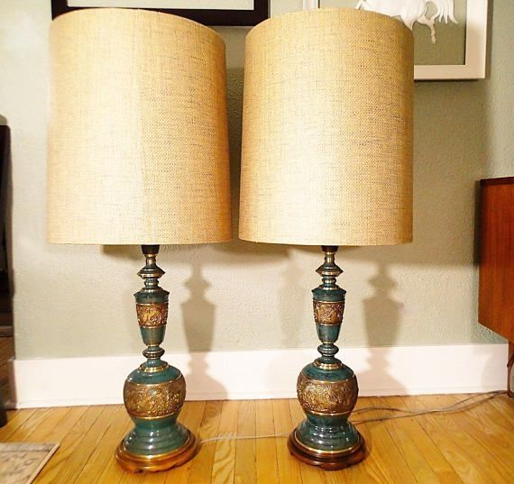 Pair Of Asian Inspired Brass Lamps The Style Of James Mont