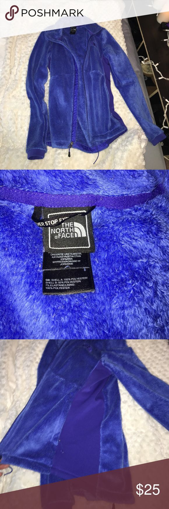 Deep blue north face zip up jacket! Super soft!! Deep blue north face zip up jacket! Super soft and warm !! Gently used condition! Never dried only air dried! North Face Jackets & Coats Puffers
