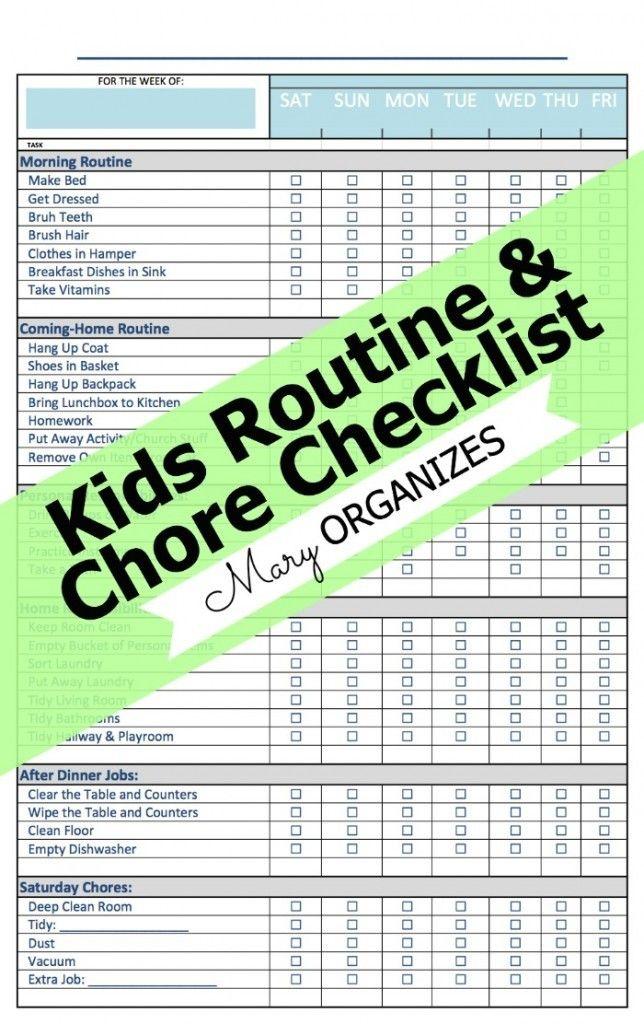 *FREE* Kid's Routine and Chore Checklist