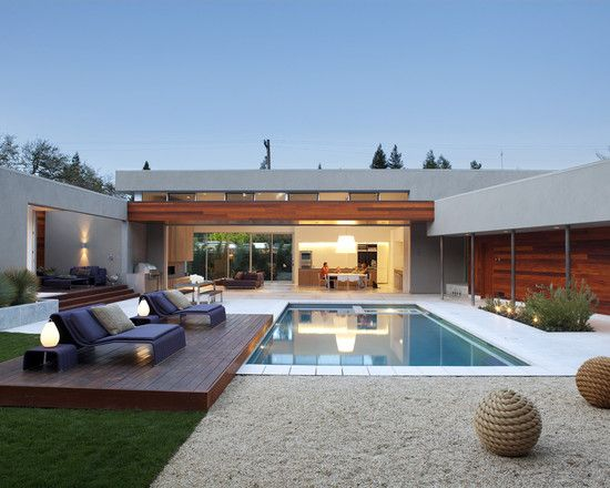 Best Images About Pool House On Pinterest - House with garden and swimming pool