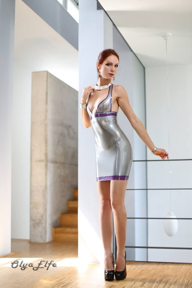 gorgeous olya elfe in silver latex dress | Latex ...