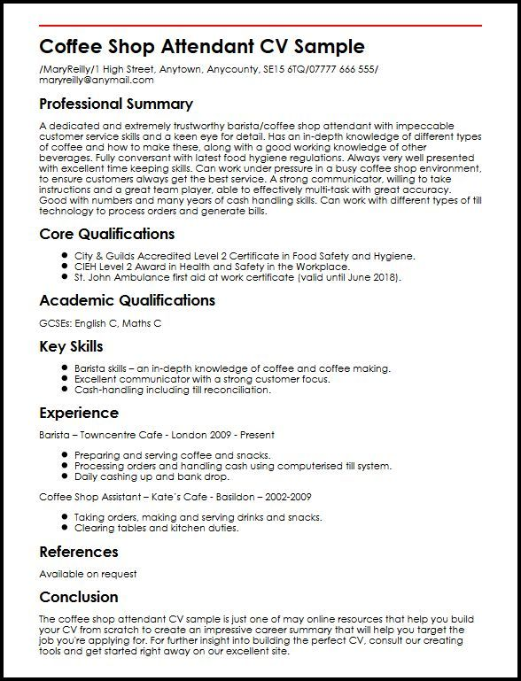 Resume Examples Barista In 2020 Resume Examples Resume Templates Good Resume Examples