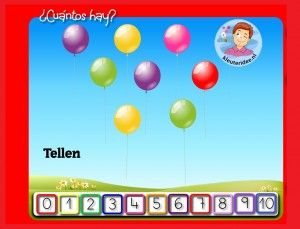 Ballonnen tellen met kleuters op digibord of computer, kleuteridee, Kindergarten math game for IBW or computer