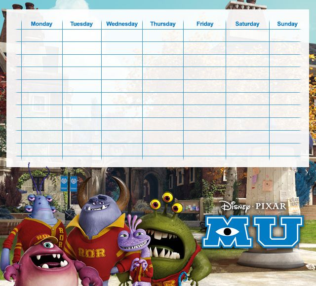 Monsters University Timetables 09