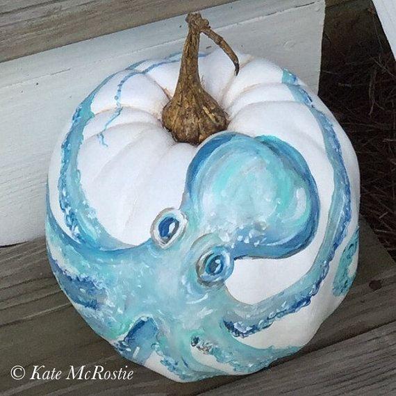 Octopus | pumpkin decor | coastal decor | chinoiserie pumpkin| hand painted pumpkin | coastal fall decor .  Sealife pumpkin sure scare your