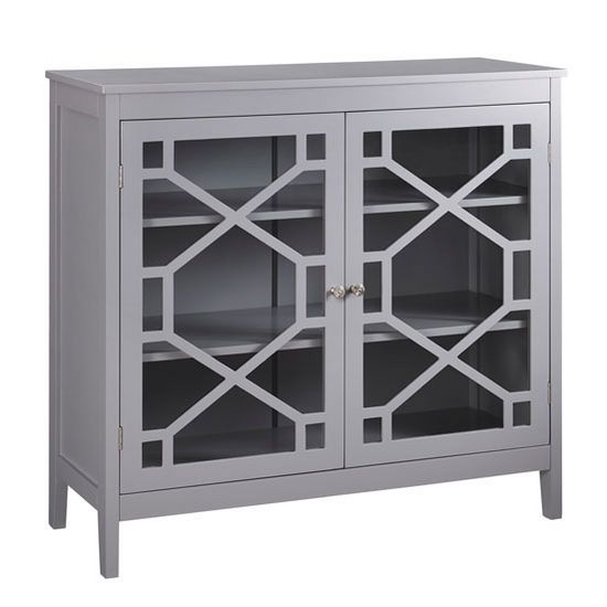 "Linon Fetti Large Cabinet in Gray, 38"" W x 15"" D x 36"" H"