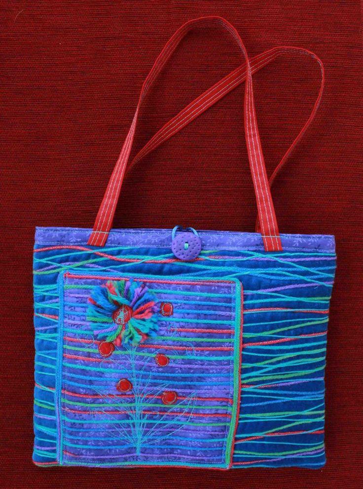 Judy Rogers Textiles Handbag  Textile Wearable Art Bloom Pocket $45-