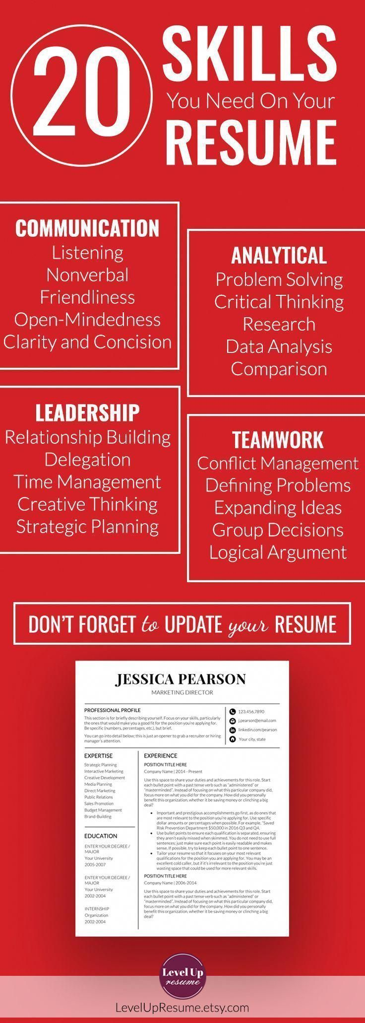 """""""20 skills you need on your resume (Resume Tips, Career"""