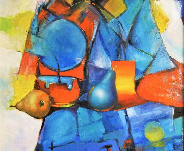 Купить Синяя груша - интерьер, живопись маслом, картина для интерьера, холст, масло, живопись, интерьер
