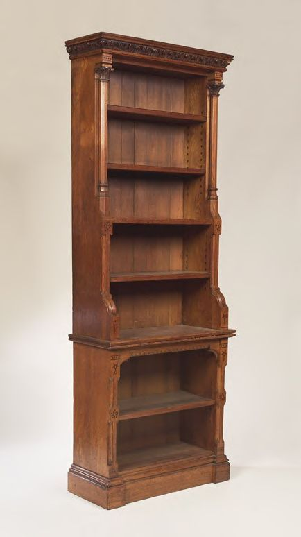 390: Attributed to Crace & Son An oak and inlaid Gothic : Lot 390