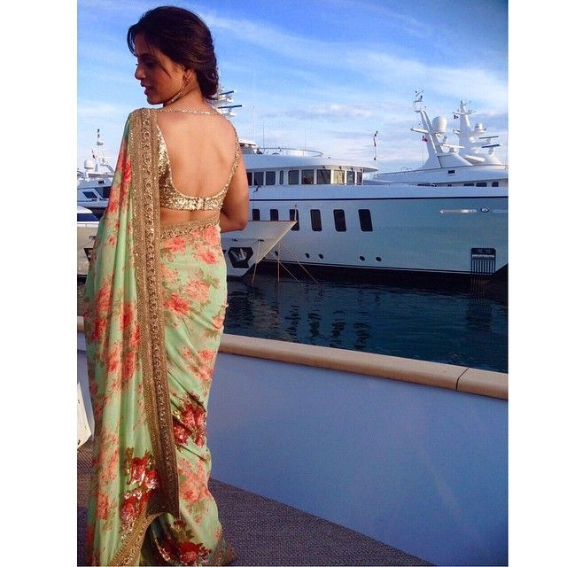 #sabyasachi #springsummer #2015 #sari #floral #prints #handcutsequins #shimmer #absoluteglamour #shiny #glow #zardosi #embroidery #handcraftedinindia #Cannes2015 #68thcannes_filmfestival #appearance #RedCarpet #France #RichaChadda #powerful #actress #indian #proud #respect #thesabyasachilook #accessories #summerlove