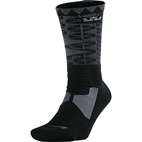 Nike Mens Hyper Elite Lebron James Basketball Crew Socks Large Anthracite GreyBlack ** Click image for more details.Note:It is affiliate link to Amazon.
