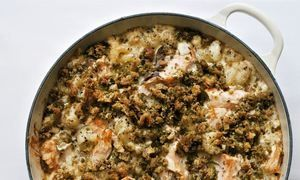 Nigel Slater's salmon macaroni baked into a round pan