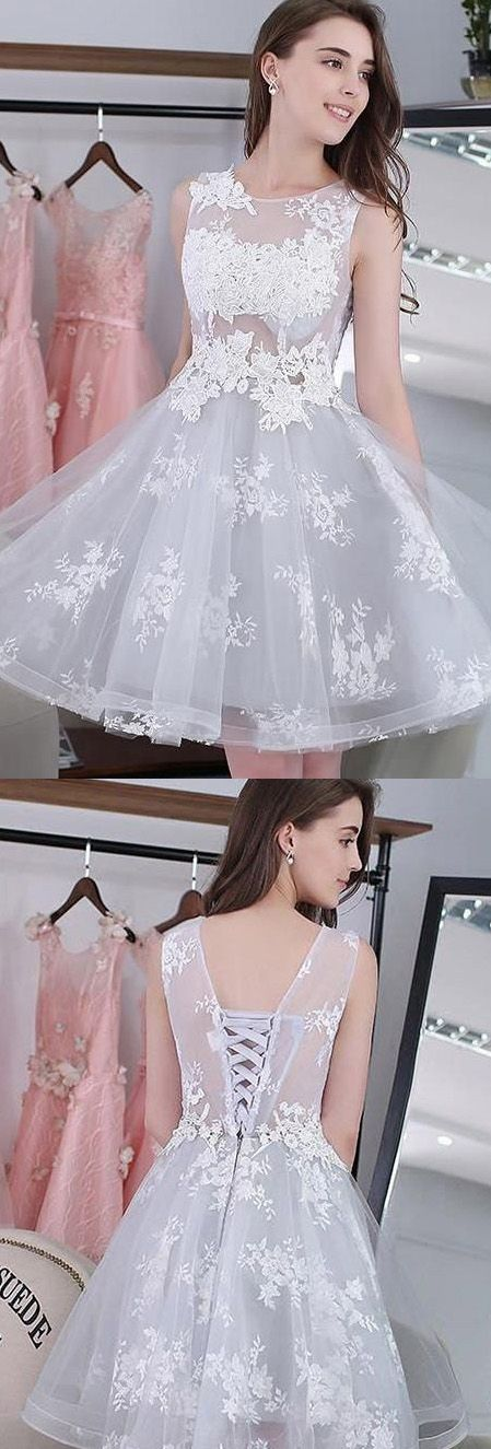 Lace Homecoming Dresses, Homecoming Dresses Short, Short Homecoming Dresses, Lace Up dresses, Short Party Dresses, Short Lace dresses, Lace Up Homecoming Dresses, Applique Party Dresses, Mini Party Dresses