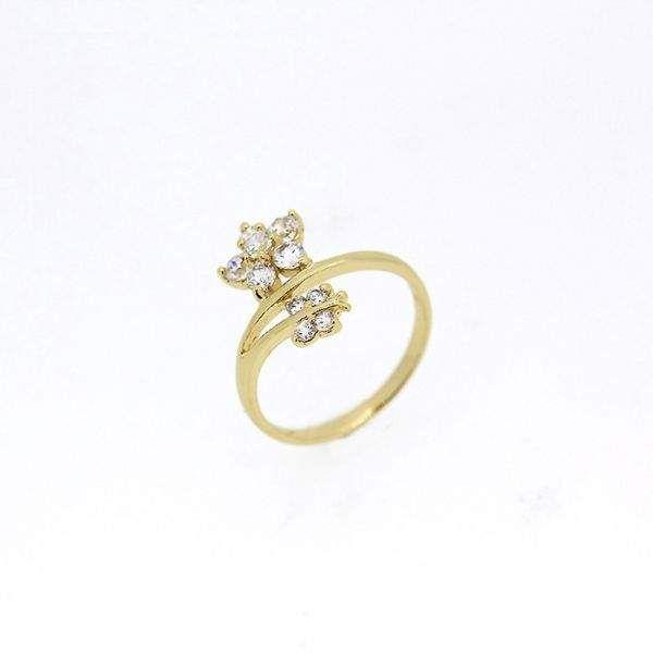 Inel floare placat cu aur galben 18k cu zirconiu alb