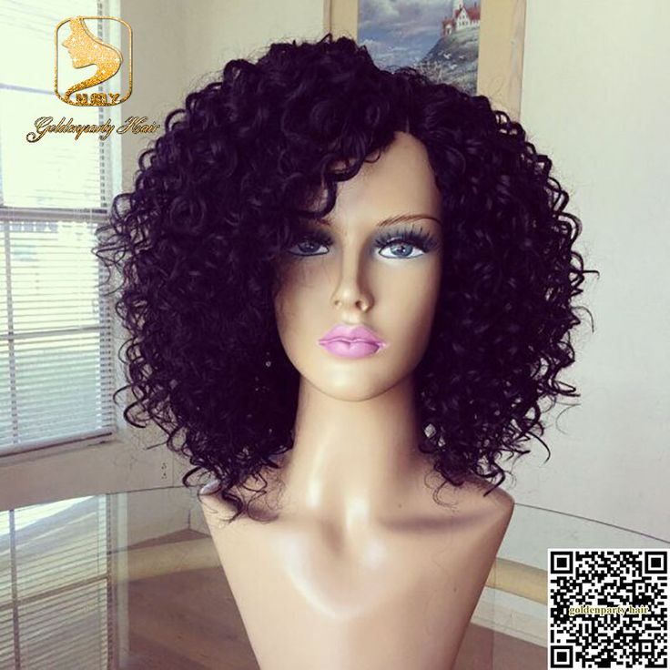 Hot sale glueless full lace short kinky curly wig for black women virgin brazilian lace front human hair bob wigs with baby hair