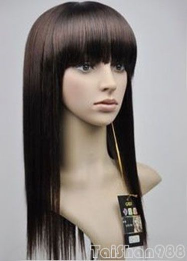 Hot Sell  Fashion Long Brown Straight Bangs Women'S Lady'S Hair Wig Wigs +Cap