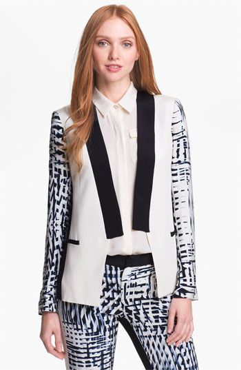 Wardrobe Query: Evelyn Lozada's Rolling Out Magazine Parker Black and White Printed 'Reef' Blazer and 'Parlor' Pants