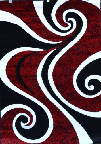 0327 Red Black Swirl White Area Rug Carpet 2 2x7 6 Modern