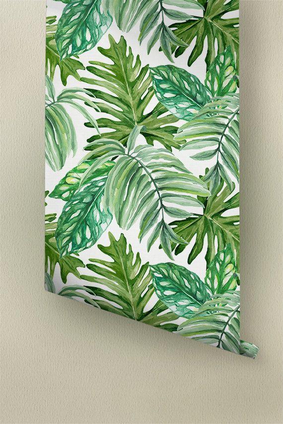 25 best ideas about leaves wallpaper on pinterest palm - Easy peel off wallpaper ...
