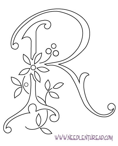 monogram for hand embroidery letter r