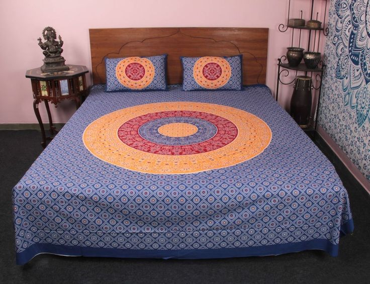 Bed Sheets & pillow  block print handmade king cotton bed sheets & pillow cases #Unbranded #Asian