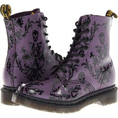 Dr. Martens - Purple with Black Skull detail. Also come in black on black! Can't pick which I like more haha