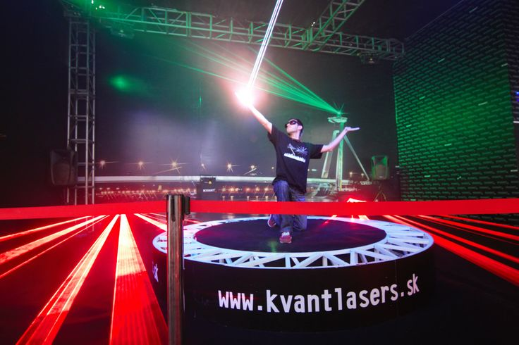 Laserman: Our talented show designer Martin produced and performed this exciting laser show: -the KVANT ATOM 6000 Tour lasers were used and controlled by Kinect