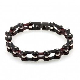 Bracelet chaîne moto couleur Noir Violet et argent