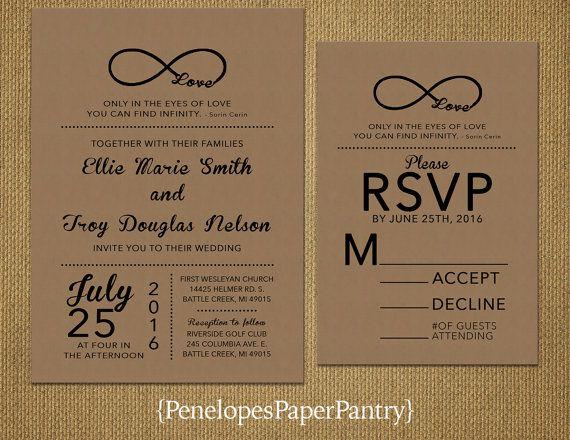 Kraft Paper Wedding Invitation,Rustic,Infinity Love Symbol,Black  Print,Retro,Custom,Printed Invitation,Wedding Set,Opt RSVP,Kraft Envelope