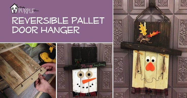 The reversible pallet door hanger has a scarecrow on side 1 & snowman on side 2. Reversible pallet door hanger makes switching fall to winter decor simple.