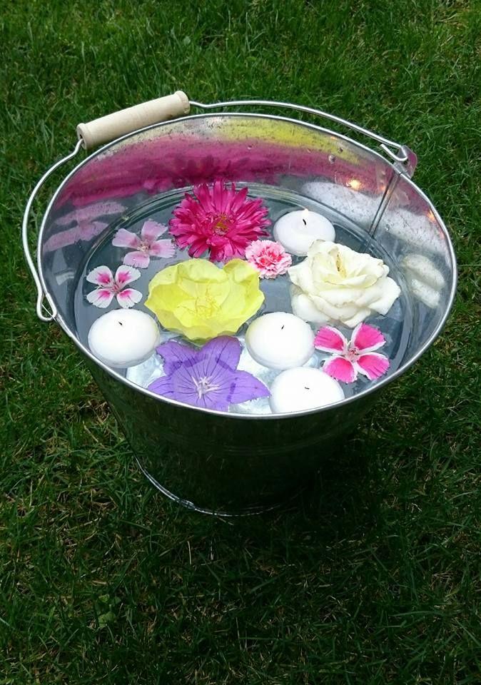 Nyár, kanna, víz, úszógyertyák, virágok, hangulat, kerti parti....Summer, cans, water, floating candles, flowers, mood, garden parties ....