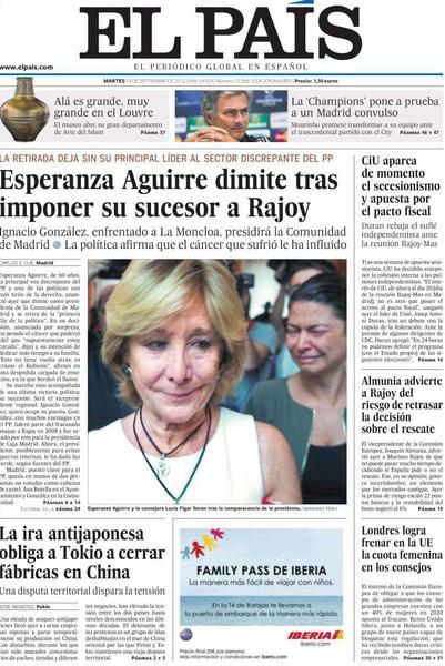 La dimisión de Esperanza en las portadas de los periódicos - vía @cerestv