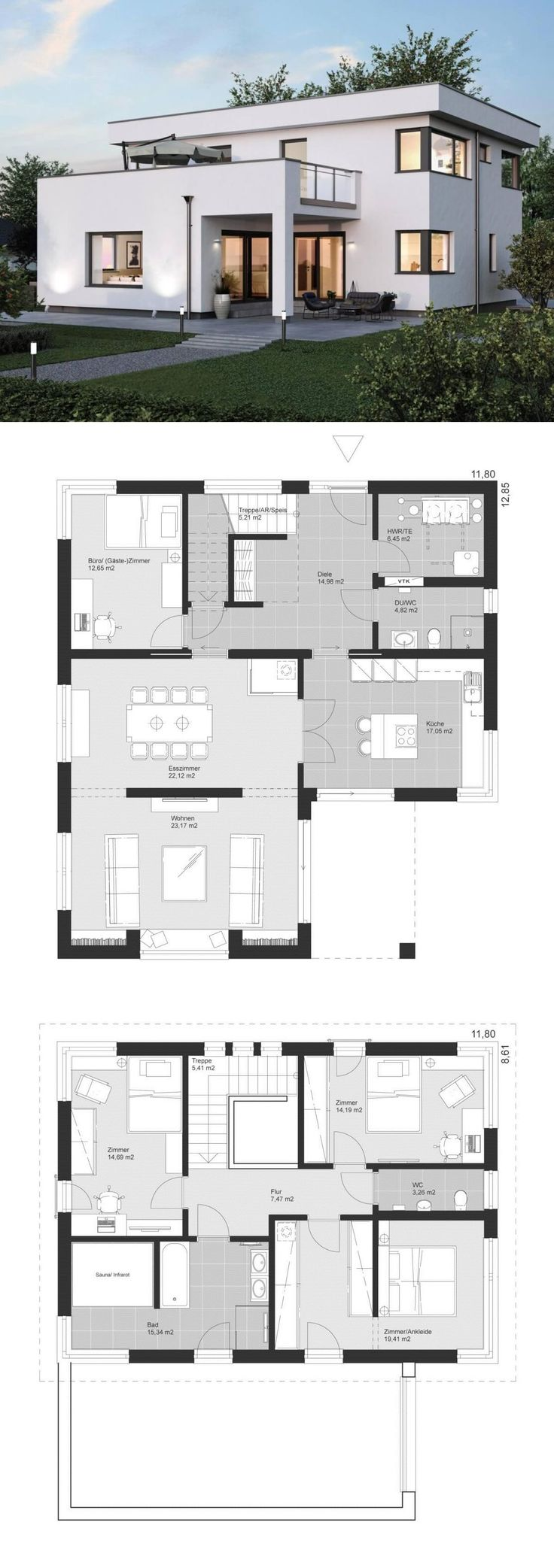 Modern Minimalist Luxury Style Architecture Design House Plans ELK Haus 186 – Dream Home Ideas with Open Floor Layout by ELK Fertighaus – Arquitecture Contemporary European Styles House Plan and Interior with Kitchen Living Room Bathrooms 4 Bedrooms Nursery Kids Entrance Hall – Arquitectura moderna casas planos – HausbauDirekt.de #home #house #houseplan #dreamhome #newhome #homedesign #houseideas #housegoals #construction #architecture #architect #arquitectura #hausbaudirekt