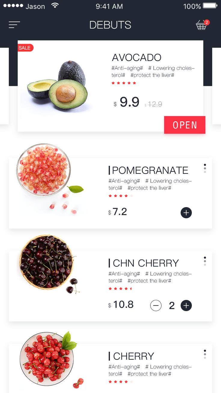 Recipe fruits interface 1