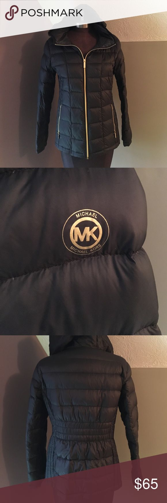 💥Black Michael Kors Down Winter Coat Size petite large (will fit s/m in my opinion, though I'm a large now and it still fits me, measurements in photos) Hooded. Two front pockets. Small puncture beside left pocket - I had this professionally repaired. Otherwise it's practically in like-new condition. Open to offers. MICHAEL Michael Kors Jackets & Coats Puffers