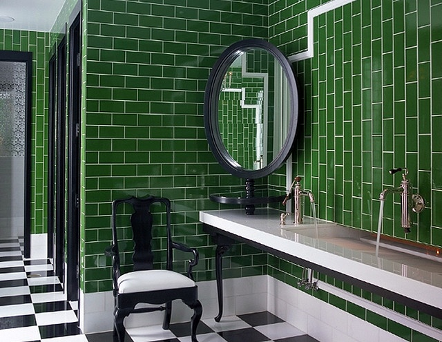 Vertical subway tile.   sanders kristin wearstler 2 by Sterin, via Flickr