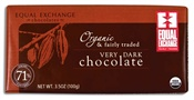 """""""For a delicious and rich dark chocolate experience try our Fairly Traded Organic Very Dark Chocolate bar. This bar is made with cocoa from the farmer co-operatives CONACADO, in the Dominican Republic, and CACVRA, in Peru, and the fairly traded organic sugar comes from co-operatives in Paraguay and Costa Rica. Vegan, soy- and gluten-free. """""""