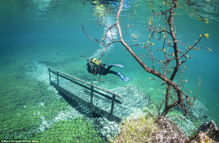 Green Lake in Tragoess, Austria - The lake is normally only one metre deep, but increases to 12 metres after the snow melt