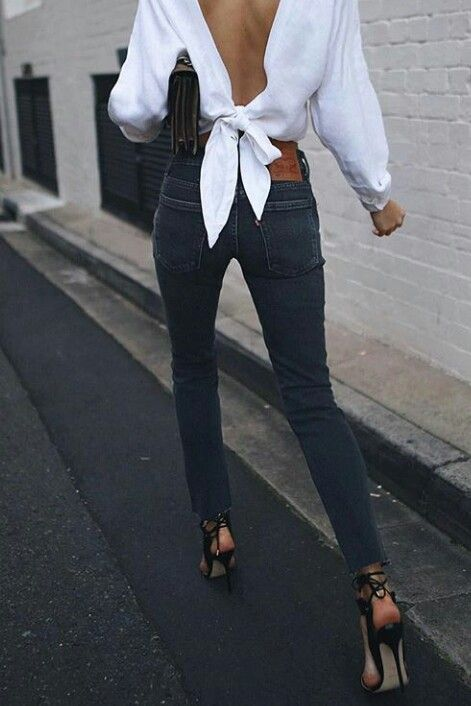 Personally, Im not a fan of anything open back but dang... Dress up a pair of jeans with a crisp white shirt and I cant turn away!