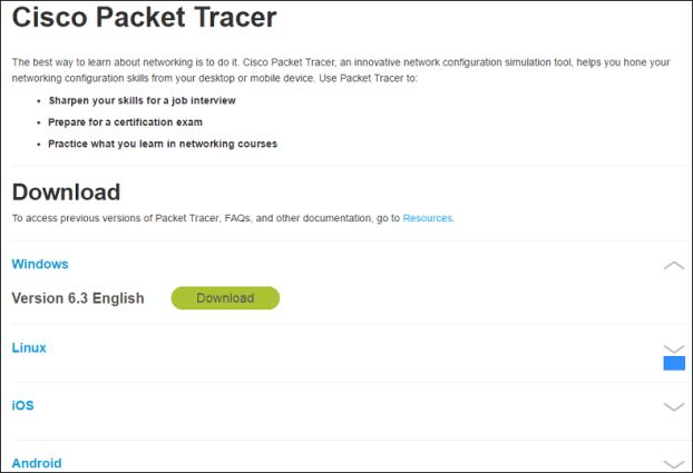 Download Cisco Packet Tracer for Windows