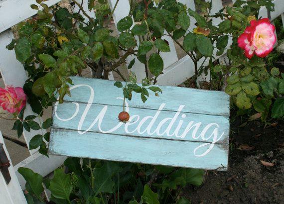 Rustic, mint green, wooden wedding sign