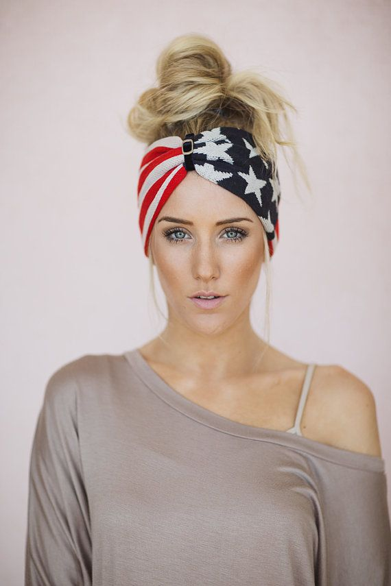 Winter Olympics, American Flag Headband, USA Red White Blue July 4th Fashion Accessory