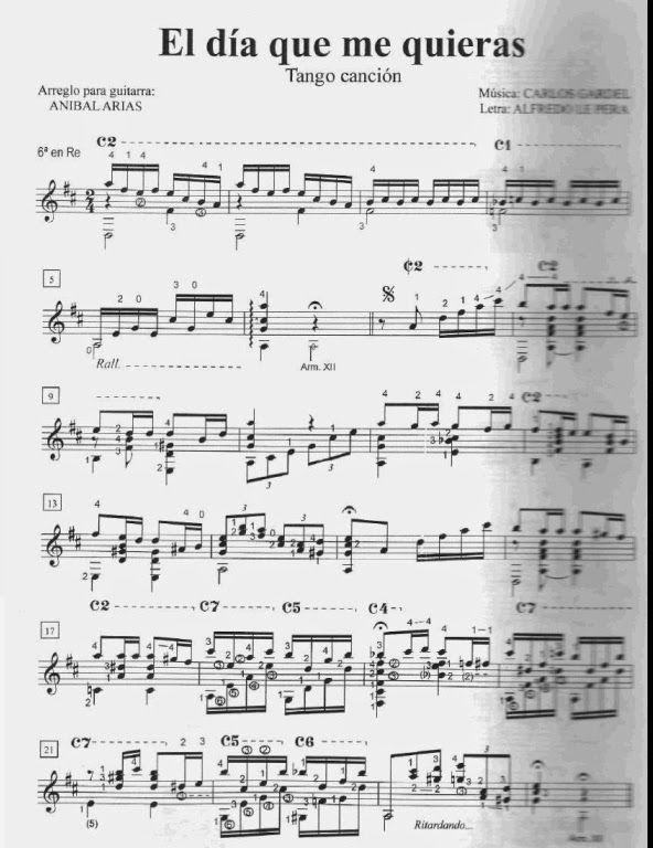 Carlos Gardel - El dia que me quieras | Partituras para Guitarra