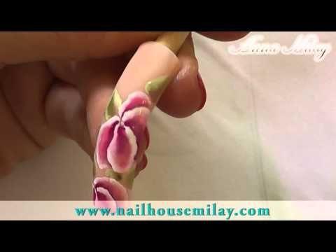 "Nail Art One Stroke Part I ""Violetta"" by Nita GARCIA - MASTER NAIL ACADEMY - YouTube"