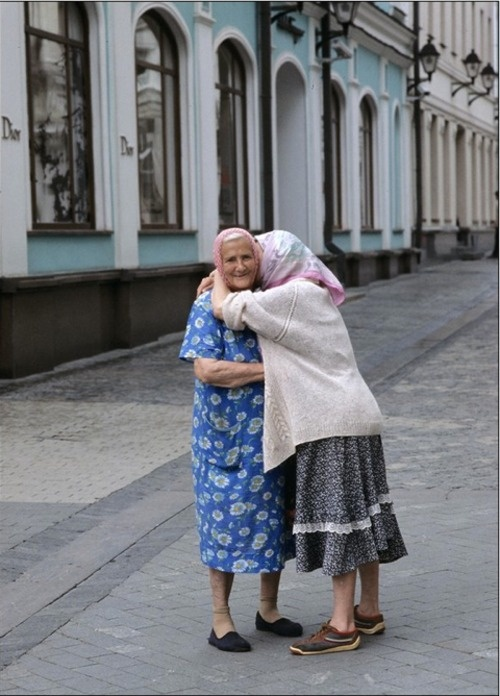 Hugging your friend.