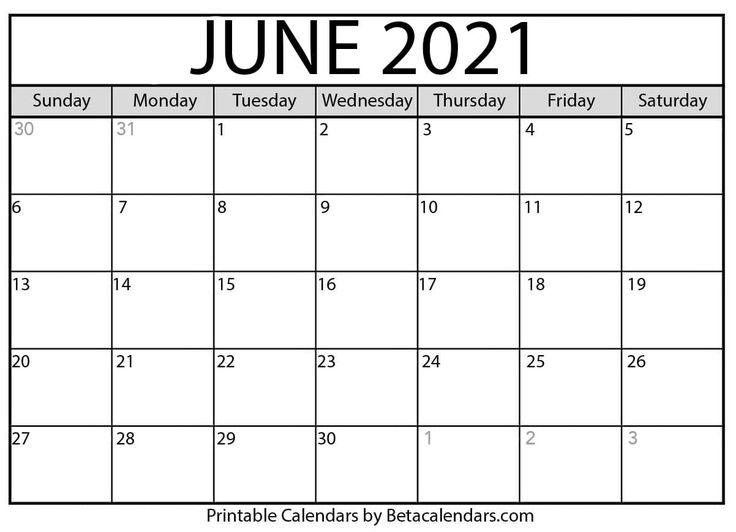 June 2021 Calendar | July calendar, Calendar printables ...